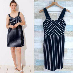 LOFT Textured Strappy Dress Blue Striped